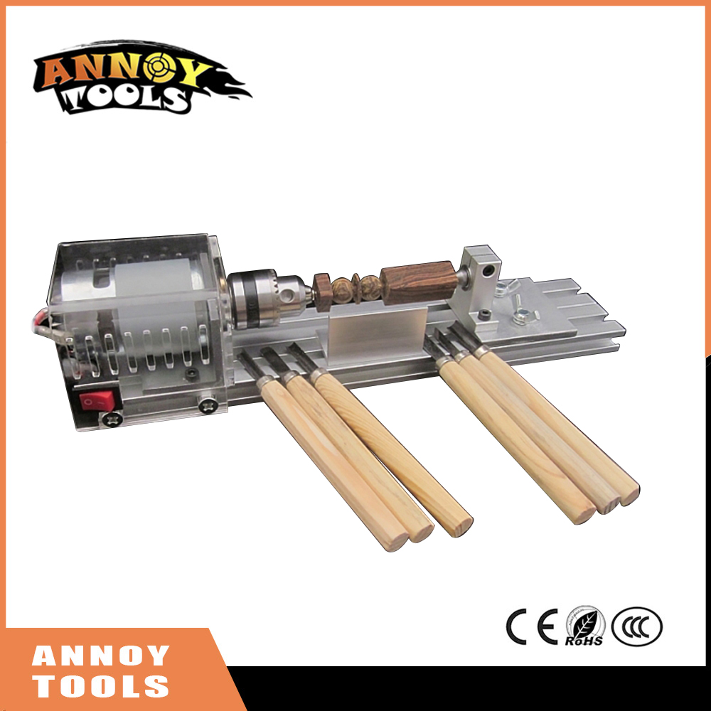 Mini DIY Wood Lathe Machine DIY Woodworking Lathe Polishing Cutting Drill Rotary Tool Standard Set Bench Drill<br>
