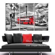 London Wall Art Picture Black and White Trafalgar Square Photography Photo on Canvas Red Bus England Wall Decor Gift No Frame