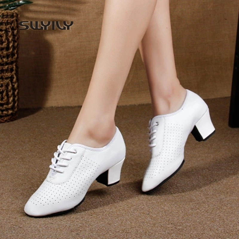 SWYIVY Women Ballroom Dance Shoes Lace-up Mid-heel Dance Sneakers Women 2018 New Square Heel White Color Women Latin Dance Shoes