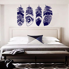 Retro Style Feathers Girls' Favorite Fashion Bedroom Living Room Artistic Decals Removeable Adhesives Mural Vinyl Stickers S-580