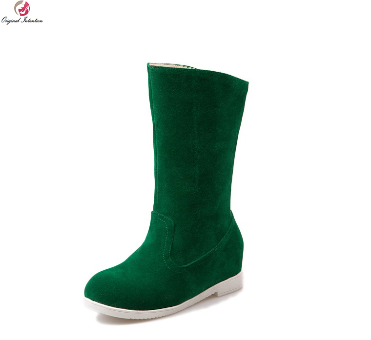 Original Intention Women Mid-Calf Boots Round Toe Height Increasing Boots Black Beige Green Grey Warm Shoes Woman US Size 4-10.5<br>