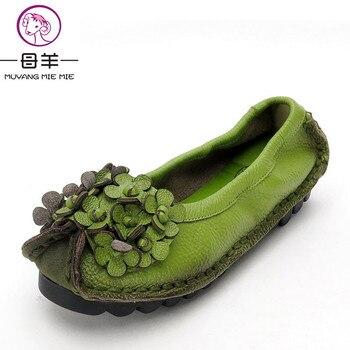 MUYANG MIE MIE Femmes Chaussures En Cuir Véritable À La Main Plat Chaussures Femme Casual Mocassins Fleur Doux Unique Mocassins Femmes Appartements