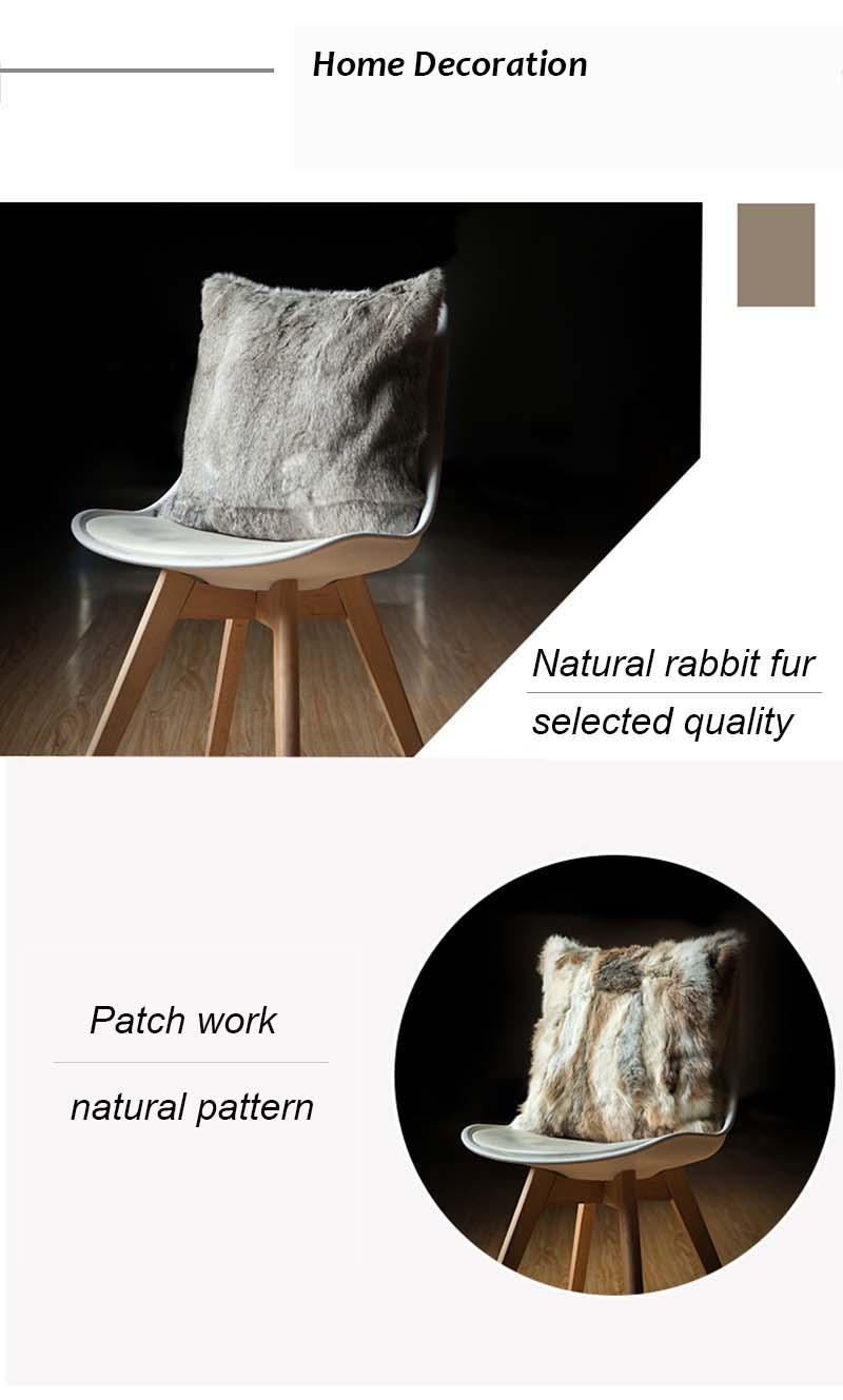 Rabbit fur pillow case details