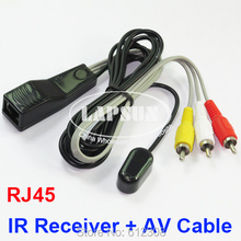 2pcs T-V Extender IR Receiver for IR Infrared Remote Control Repeater System 2 Meter IR Receiver + 0.3Meter AV Cable Cat5/6e(China)