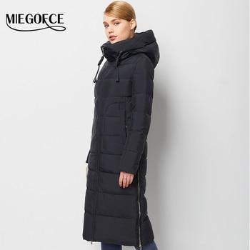 Invierno mujeres down jacket coat mujer caliente abajo parka abrigo de invierno de alta calidad de estilo europeo miegofce 2016 nueva colección de invierno