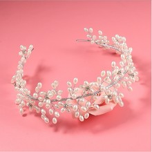 Handmade Pearl Crystal Hair Flower Crown Wedding Bridal Hair Jewlry Party Prom Woman Girls Hair Fascinator Hair Accessories
