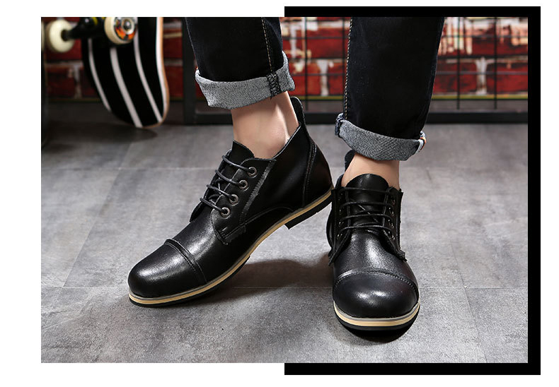 COSIDRAM Plus Size 47 Men Boots Genuine Leather High Top Men Shoes Fashion Ankle Boots For Men Winter Shoes Male Botas RMC-082 7