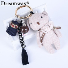 Korean design lovely cloth bear keyrings tassel car key chain creative lady bag ornaments small gift pendant wholesale price(China)