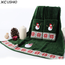 XC USHIO 100% Cotton Christmas Snowman Towel Set Gift For Child Boy Girl kids Bath Towel Two Different Size Face Hand Towels(China)