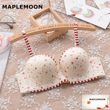 8113 red Animal Prints young girl gather soft underwear small chest V type new Underwire bras Push Up Padded Cute student