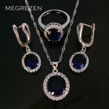 MEGREZEN Silver Plated Rhinestones Jewelry Set CZ Blue Earrings Necklace With Zircons Orecchini Rossi Jewellery Bisuteria Ys003(China)