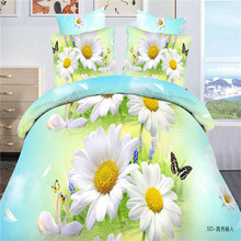 4pcs 3D White Chrysanthemum butterfly Bedding Sets Quilt Duvet Cover Bed Sheet Linen Pillow Case Home Texile Kits Hot Selling