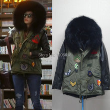 Star style black fur coat leather sleeve army green parka,new fashion China supplier cheap wholesale price