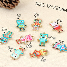 13*22mm 10x/lot Drops of oil Charms Robot Pearl Zinc Alloy Charm For DIY Jewelry Making Bracelet&Necklace&Bangle Accessories
