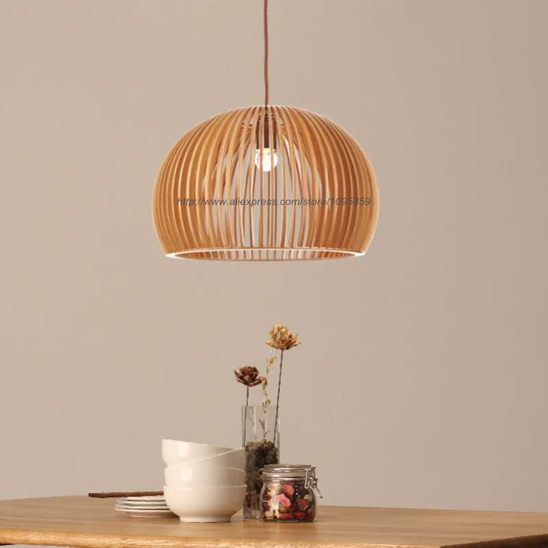 Modern Nordic Style Wooden Half Ball Pendant Light Lamp Wood Color Ceiling Fixtures Lighting<br><br>Aliexpress
