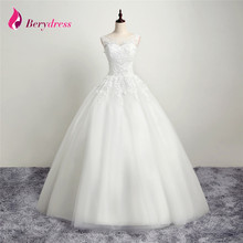 Real Vestido de Noiva Princess Wedding Dress 2017 Scoop Neck Appliques Beading Bridal Gown Tulle Real Photos Robe de Mariage (China)