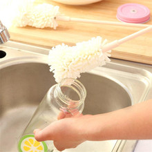 1PC Sponge Cleaner Long Handle Brush Glass Bottle Cups Kitchen Wash Kitchen Cleaning Scraper with hanging hole brush drop ship