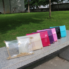 Wholesale Blanks PVC Messenger Bag Colored Clear Clutch with Golden Chain DOM103395