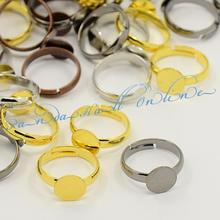 Mixed Color Adjustable Brass Pad Ring Findings, Cadmium Free & Lead Free, 14mm; Tray: 8mm