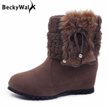 wool fur patchwork fashion woman shoes autumn winter ankle boots for women height increasing wedges tassels women's boots WSH961