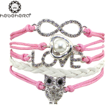 Statement Beautiful Friendship Shine Crystal Full Stone LOVE Owl Weave Bracelet Women Students