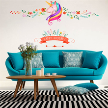 colorful flower floral unicorn wall sticker for kids room girls room window holidays decor animal wall decals art Christmas gift(China)