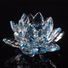 120mm K9 Crystal Lotus Flower Crafts Feng Shui Ornaments Figurines Glass Paperweight Party Gifts Wedding Decoration Souvenirs(China)