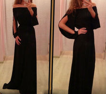 Black Slash Neck Empire Vintage Long Floor Length Dress for Women Casual Women Chiffon Dress