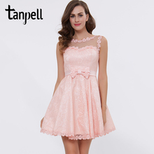 Tanpell bateau short cocktail dress pink above knee bow a line dress cheap sleeveless lace graduation party cocktail dresses(China)