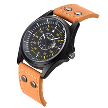 2017 Top Luxury Brand Men Military Quartz Watch Army Sports Casual Leather Strap Compass Dial Fashion Waterproof Wristwatch(China)