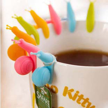 Randome Color!! 6 PCS Cute Snail Shape Silicone Tea Bag Holder Cup Mug Candy Colors Gift Set GOOD Kitchen accessories