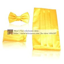 ceremonial belt handkerchief bow tie Cummerbunds Girdle Pocket square 3pcs in 1