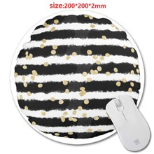 200*220*2mm Black and white Round Rubber Gaming Mouse Mat Custom Your Styles Non-slip and Durable Computer and Laptop Mouse Pad