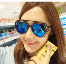 M MISM Multilateral Hollow Plastic Sunglasses Fashion 6 Colors Coating Mirrored Sun Spectacles UV 400 Protective Glasses