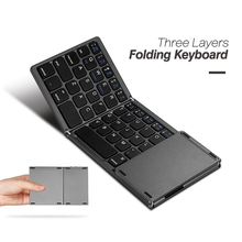 B033 Ultra Thin Light ABS Mini Bluetooth 3.0 Folding Keyboard Touchpad with Three Layers with Battery for Windows iOS Android(China)