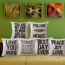 Follow your heart best day ever peace love you are my sun words pattern decorative pillow case