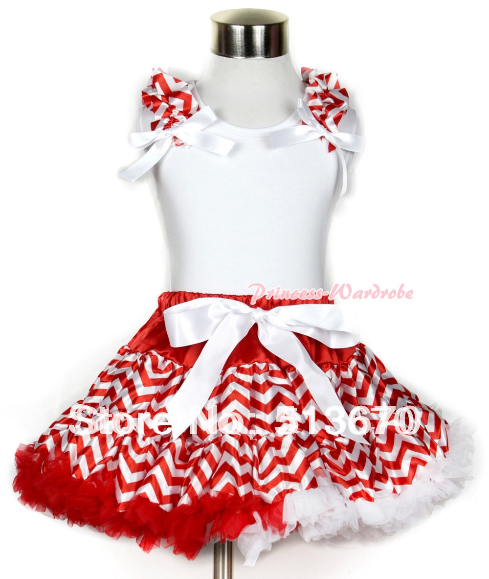 Xmas White Tank Top With Red White Wave Ruffles &amp; White Bows With Red White Wave Pettiskirt MAMN109<br>