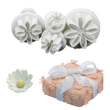 LINSBAYWU 4Pcs/Set Daisy Flower Cookie Sunflower Plunger Cutter Sugarcraft Fondant Cake Tool Christmas Cake Decorating Tools(China)
