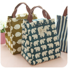 24*20*17cm linens Tote Lunch Storage Bag Portable Lunchbox Lady Food Bag with Toe Kids Lunch Bag