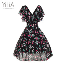 Yilia Women Vintage Dress Puff Sleeve Black Tunic Cherry Print Floral Summer Dress 2017 Sexy Elegant A Line Vestidos Retro Style(China)