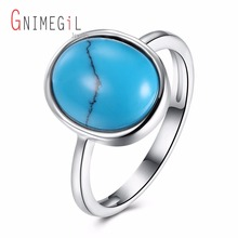 GNIMEGIL Brand Jewelry Women's Turquoises Ring Oval Shape Ring Gypsy Setting Ring for Ladies Blue Stone Size Diameter 1.4 cm