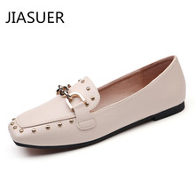 Jiasuer Fall Casual Women Soft Leather Flat Office Ladies Slip Ballet Flats Girls Square Toe Ballerina Flats Loafers Shoes