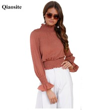 Fashion Qiaosite Short Autumn Full Butterfly Sleeve Female Tops Lotus leaf Solid Lotus Color Ladies T shirt Correct Waist Slim(China)