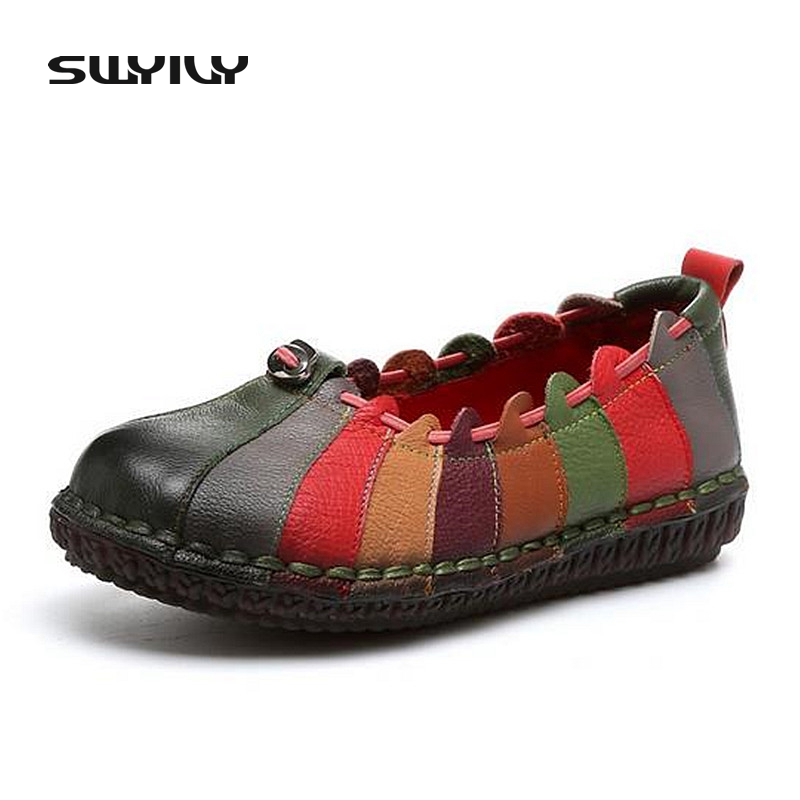 Fashion Design Rainbow Color Women Flat Shoes Genuine Leather Women Shallow Vintage Shoes Fashion Sewing Slip-on Girl Loafers<br>
