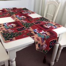 Custom Made Luxury Double layer Christmas Cotton Polyester Xmas Table Runner Satin Tablecloth Red Table Flag Towel Cloth Covers(China)