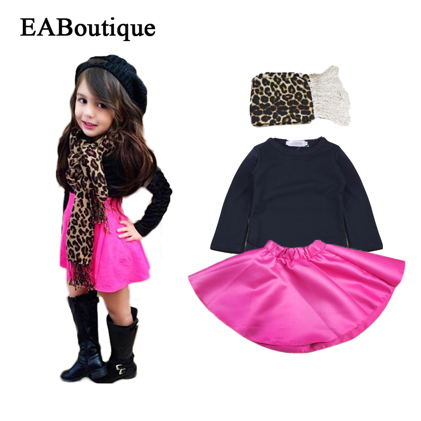 EABoutique  baby girls clothes set 2015 winter girls clothing sets fashion girls skirt set 3 piece set with leopard scarf<br><br>Aliexpress