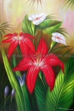 100% hand painted Lily Flower Garden White and Red Close-up Oil On Canvas Floral Painting free shipping High quality