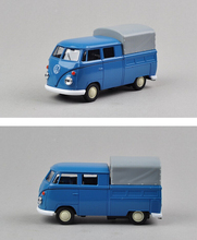 Candice guo! Hot sale classical metal alloy model car Welly Volkswagen T1 blue little good van pull back collection birthday toy