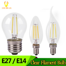 CANMEIJIA Vintage LED Filament Bulb Lamp E27 E14 C35 2W 4W G45 Glass Clear Edison Retro Candle Light Bulb COB Indoor Lighting(China)