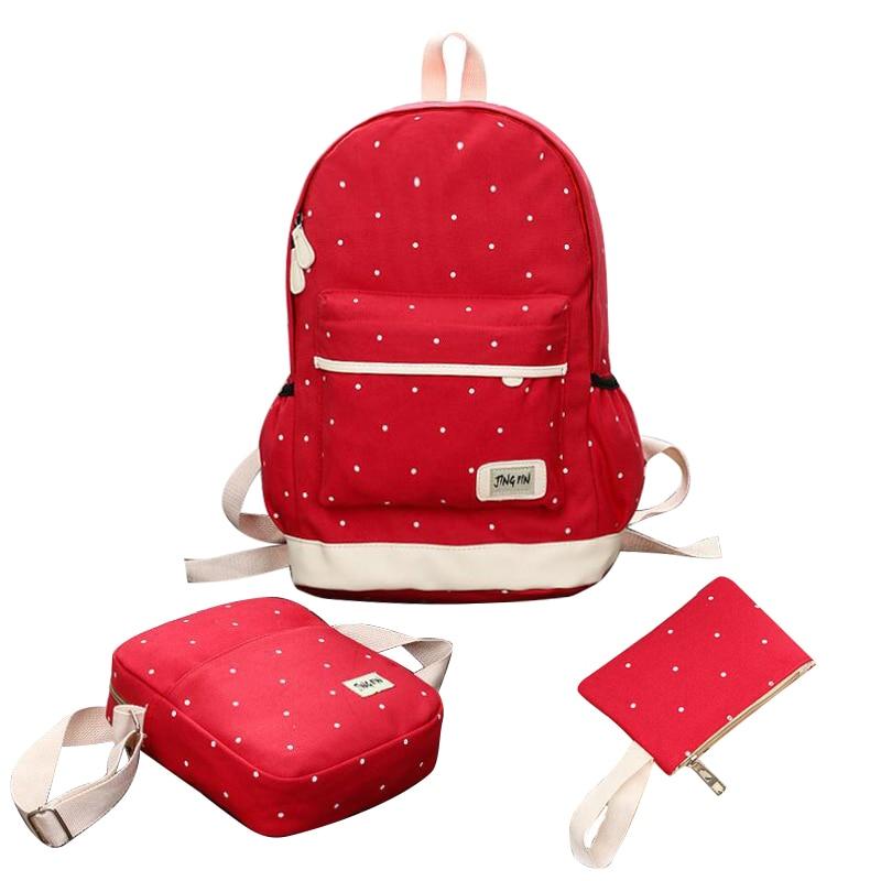Fashion cute Girl School Bags For Teenagers women travel backpack Printing dot shoulder bags 3 Pcs/Set rucksack mochila knapsack<br><br>Aliexpress